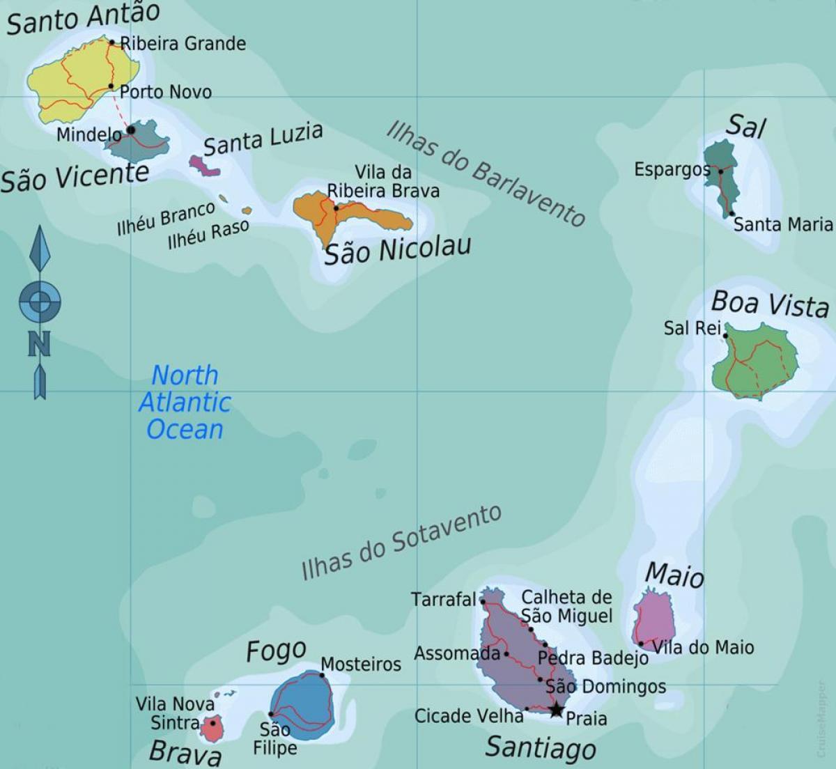 Cape Verde islands Karte - Kap Verde-Inseln auf der Karte (West ...